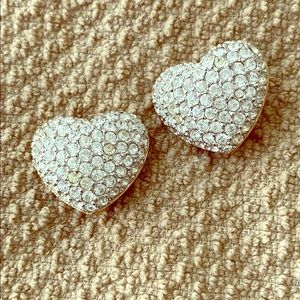 Swarovski heart clip earrings